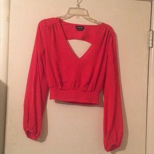 Bebe Red Sheer Crop Blouse S/P worn once